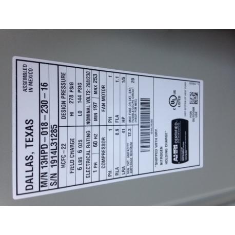 Aire Flo 1.5 Ton 13 SEER 7.7 HSPF Nitrogen Charged Heat Pump - 13HPD-018-230-16